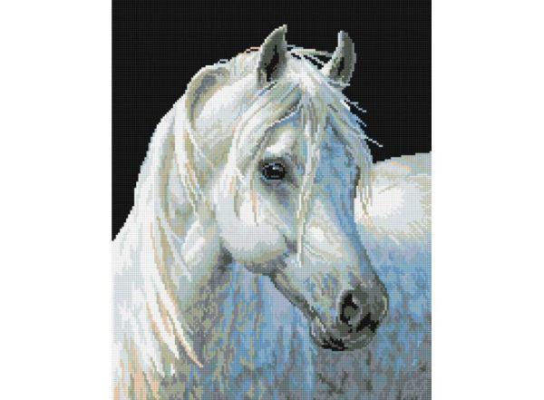 Мозаика на подрамнике. Белый конь (090-ST-S)