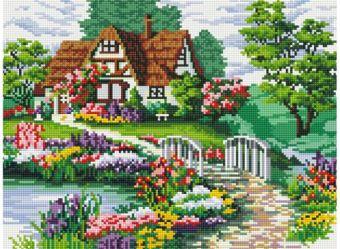 Мозаика на подрамнике. Мостик в цветах (254-ST-S)