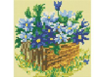 Мозаика на подрамнике. Васильки в саду (292-ST-S)