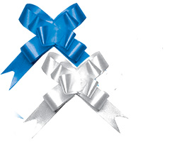 Бант-бабочка, 2 штуки в PP пакете с подвесом, размер 18 х 450 мм, цвета синий, серебряный, эффект - металлизированное покрытие, упак. 24/600/2400 шт.
