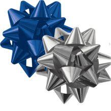 Набор из 2-х металлизированых бантов-звезд (малых) для праздничной упаковки в PP пакете с подвесом, Различные цвета.(синий, серебро), размер ? банта 5