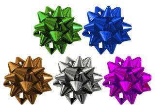 Набор из 5-и металлизированых бантов-звезд
