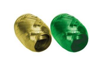 Набор из 2-х упаковочных металлизированных лент, (золото, зеленый) в PP пакете с подвесом, размер 0,5 cм х 10 m, упак. /12/192 шт.