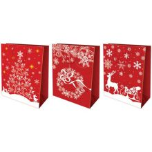 Пакет бумажный подарочный, эффект: глянцевая поверхность, микс из 3-х дизайнов, Размер 28 х 34 х 9 см, Упак. 12/180/360 шт.