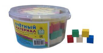 ИГРУШКА ДЕРЕВЯННАЯ. СЧЕТНЫЙ МАТЕРИАЛ. 150 кубиков в пласт. контейнере (Арт. К150-6057)