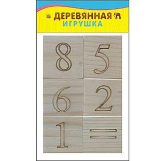 ИГРУШКА ДЕРЕВЯННАЯ. ЦИФРЫ И ЗНАКИ (6 кубиков) (Арт. К06-6056)