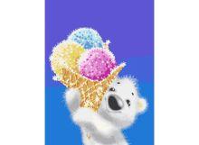 Живопись на холсте 30*40 см. Медвежонок с мороженым (044-AS)