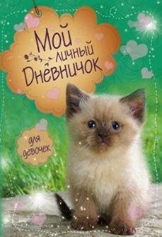 Котик на зеленой обложке Дневничок Мой личный дневничок