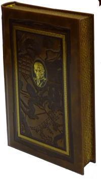Военно-теоретические труды. Книга в коллекционном кожаном переплете ручной работы с дублюрой, окрашенным и вызолоченным обрезом