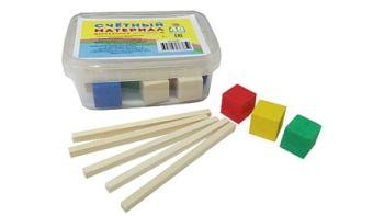 ИГРУШКА ДЕРЕВ. СЧЕТНЫЙ МАТЕРИАЛ (28 палочек, 12 кубиков) в пластик. контейнере (Арт. НР-6385)