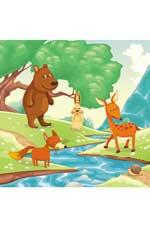 На лесной опушке: водораскраски-пазлы