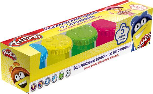 PDCP-US1-FPNT-BOX5 Пальчиковые краски со штампами, 5 цв. Объем краски одного цвета 50 мл. Упаковка   картонная коробка с ПВХ окном. Размер 25,3 х 5,3