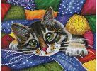 Набор для хобби и творчества Мозаика на подрамнике Котик в лоскутках (246-ST-S)
