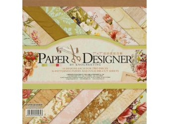 """Аксессуары для скрапбукинга. Набор бумаги """"Вальс цветов"""" 17.5см*17.5см (080-SB)"""