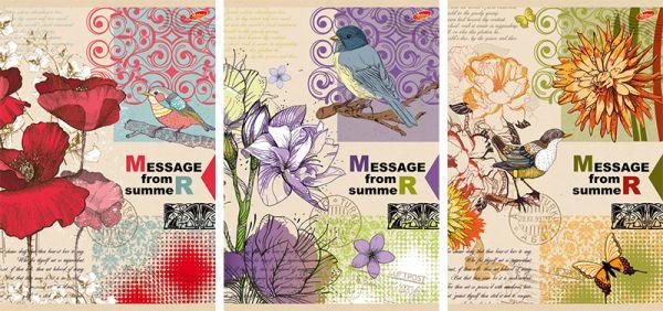 Тетр 80л скр А4 кл 7895/3-EAC твин УФ Message from summer: птицы и цветы
