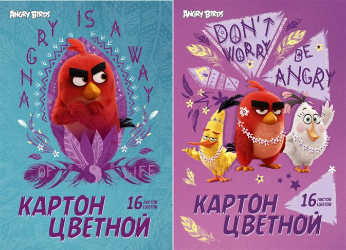 Карт цв д/дет тв 16цв 16л Пап 198*290 AB18/2-EAC Angry Birds Movie