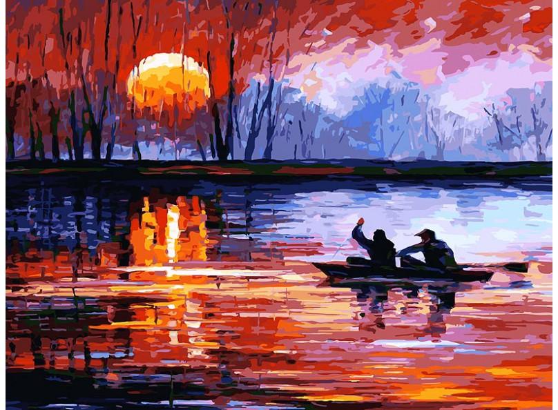 Живопись на холсте 30*40 см. Рыбалка на закате (157-AS) набор для творчества хансибэг живопись на холсте 40 50см пионы в букете