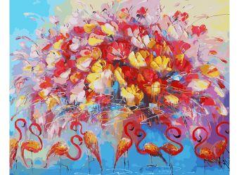 Живопись на холсте 40*50 см. Танец красного фламинго (156-АВ)