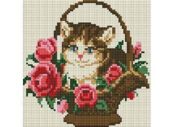 Мозаика на подрамнике. Котёнок в корзинке (324-ST-S)