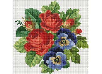 Мозаика на подрамнике. Букет с красными розами (330-ST-S)