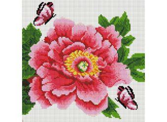 Мозаика на подрамнике. Розовый цветок и бабочки (333-ST-S)