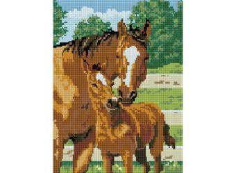 Мозаика на подрамнике. Лошадь с жеребёнком (338-ST-S)