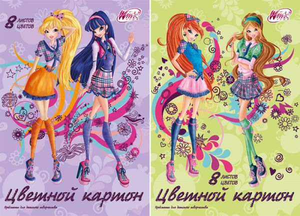 Карт цв д/дет тв  8цв  8л(2 мет) Папка 200*290 WC18/2-EAC Winx Club