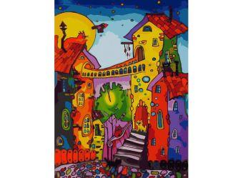 Живопись на холсте 30*40 см. Цветные коты (104-AS)