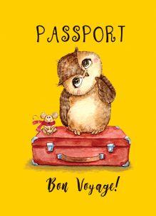 Сова-путешественница (обложка на паспорт)