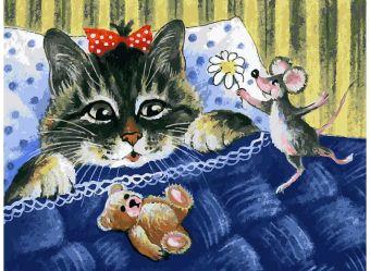 Живопись на холсте 30*40 см. Кот и мышка (116-AS)