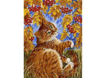 Живопись на холсте 30*40 см. Кот с рябиной (118-AS)
