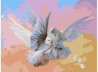Живопись на холсте 30*40 см. Полет белых голубей  (159-AS )