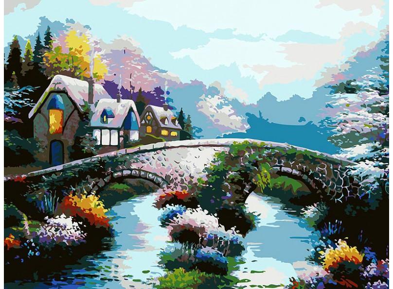 Живопись на холсте 30*40 см. Старинный мост (169-AS ) набор для творчества хансибэг живопись на холсте 40 50см пионы в букете