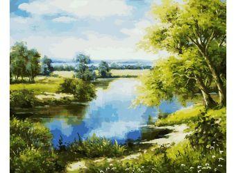 Живопись на холсте 40*50 см. Лесное озеро  (167-AB )
