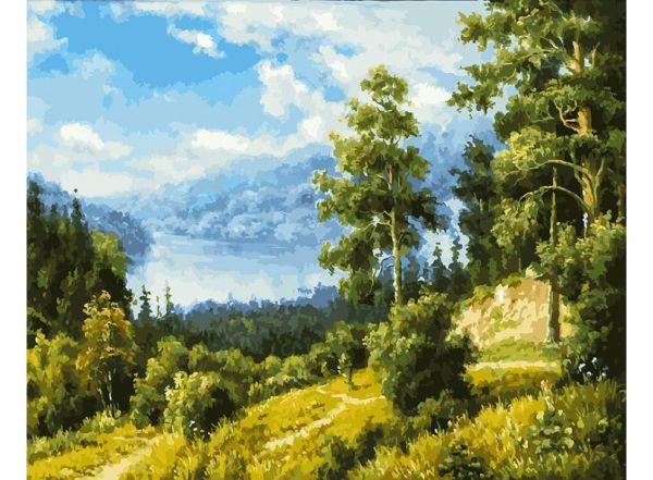 Живопись на холсте 40*50 см. Лесной пейзаж (166-AB)