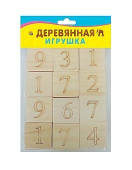 ИГРУШКА ДЕРЕВЯННАЯ. ЦИФРЫ И ЗНАКИ (набор из 12 кубиков) (Арт. ИД-4698)