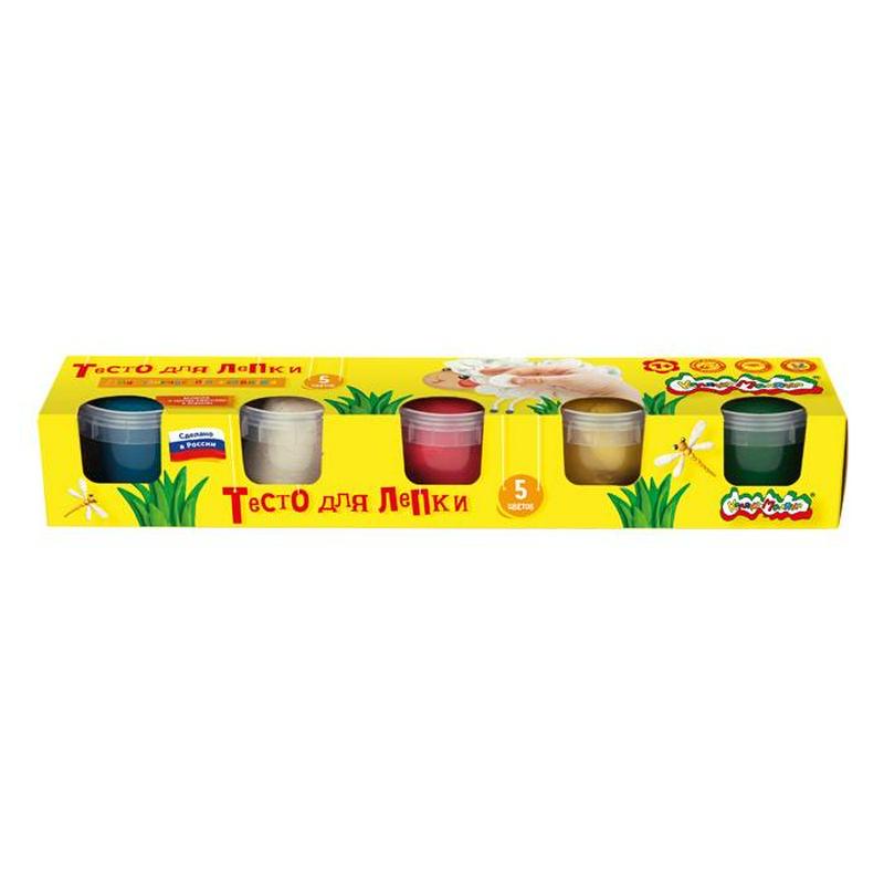 Тесто для лепки Каляка Маляка, 5 цветов (красный, желтый, зеленый, синий, белый) по 90 гр в банке. С брошюркой. В коробке