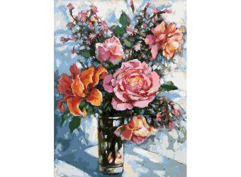 Живопись на картоне . Натюрморт с розами  (3021-CS)
