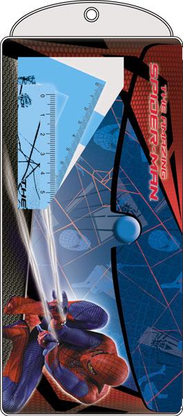 SM4R-12S-148427-PVC Набор канц. в ПП пакете с подвесом: ПВХ пенал, линейка 15 см 1 шт., треугольник 2 шт., транспортир 1 шт Spider-man