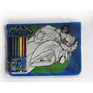"""Набор для раскрашивания """"Max Steel"""" ( папка для тетрадей А5+ и фломастеры 6 цветов)"""