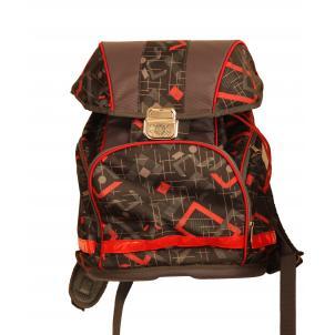 Рюкзак серый с красным, 1 отделение,  из мягкой и прочной ткани с водоотталкивающей пропиткой, металлический замок со светоотражающим катофотом, три в