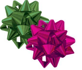 16-RG-STR-6-H2 Набор из 2-х металлизированых бантов-звезд (малых) для праздничной упаковки  в PP пакете с подвесом, Различные цвета.(амарант, изумруд)