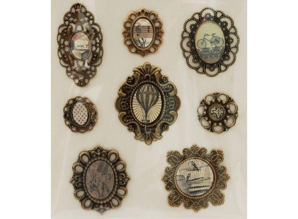 """Аксессуары для скрапбукинга. Набор 3D Стикеров """"Медальоны Винтаж"""" (2587-SB)"""