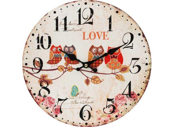 "Часы. Часы настенные ""Совы на ветке"", диаметр 34 см (134-CL)"