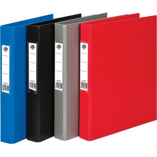 Папка-регистр на 2-х кольцах (серый), пластиковая, формат А4, для бумаги или папок-вкладышей с перфорацией, ширина папки 40 мм, двухстороннее ПВХ покр
