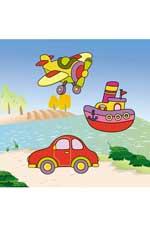 Транспорт: водораскраски-пазлы