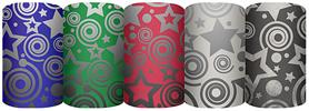 Новогодняя упаковочная металлизированная бумага с лазерной печатью для оформления подарков, Упак. по 50 шт. в коробку-дисплей, (5 дизайнов в ассортиме