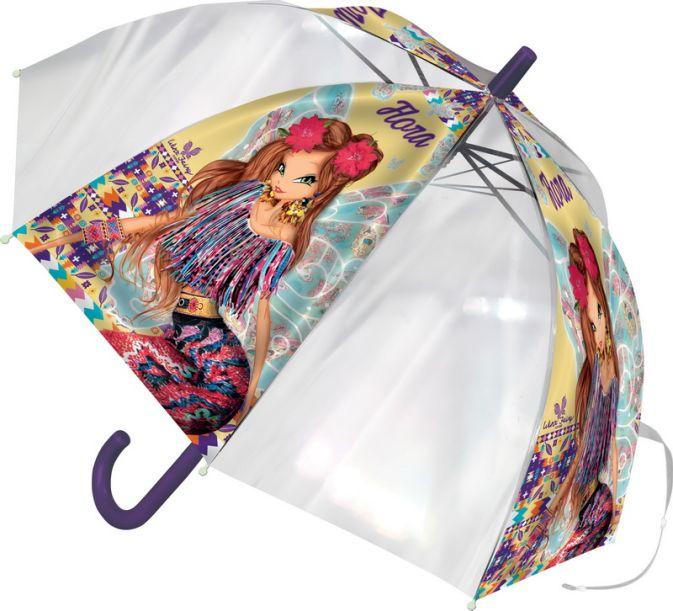 Детский зонт-трость - его форма надежно защитит ребенка в дождливую погоду. Ручка выполнена из пластика, удобна для ребенка. Чтобы зонт не раскрывался