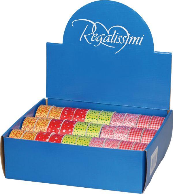 Лента для праздничной упаковки подарков (на картонной катушке), Размер ленты: 2,5 см х 10 м. 5 дизайнов в ассортименте. 30 шт. в дисплее.  Упак. /30/1