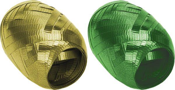 Набор из 2-х упаковочных металлизированных лент,  (золото, зеленый) в PP пакете с подвесом, размер 0,5 cм х 10 m, упак. 12/192 шт.